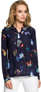 Granatowa bluzka Merg ze sznurowanym dekoltem z długim rękawem