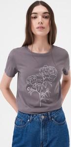 T-shirt Sinsay z okrągłym dekoltem z nadrukiem z krótkim rękawem