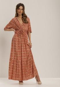 Pomarańczowa sukienka Renee maxi z dekoltem w kształcie litery v