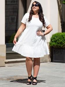 Sukienka KARKO z bawełny z okrągłym dekoltem z krótkim rękawem