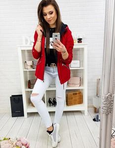 Czerwona kurtka Dstreet długa w stylu casual