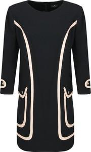 Czarna sukienka Elisabetta Franchi w stylu casual z okrągłym dekoltem z długim rękawem
