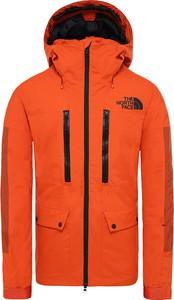 Pomarańczowa kurtka The North Face w sportowym stylu z tkaniny krótka