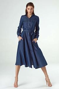 Niebieska sukienka Nife z bawełny szmizjerka