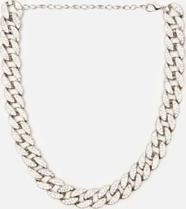 Cropp - Naszyjnik łańcuch z błyszczącymi kamieniami - Srebrny