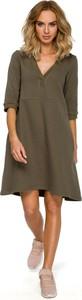 Sukienka MOE z dzianiny z dekoltem w kształcie litery v