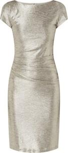 Złota sukienka Swing z okrągłym dekoltem mini