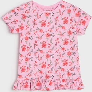 Bluzka dziecięca Sinsay dla dziewczynek w kwiatki z krótkim rękawem