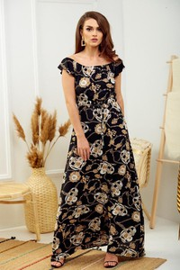 Czarna sukienka Promese maxi z krótkim rękawem