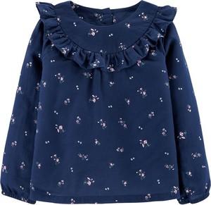 Bluzka dziecięca OshKosh w kwiatki z bawełny z długim rękawem