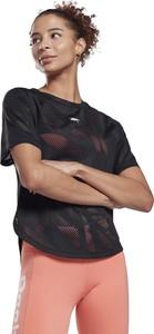 Czarny t-shirt Reebok z okrągłym dekoltem