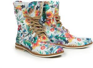Botki zapato ze skóry w stylu casual z płaską podeszwą