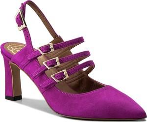 Fioletowe sandały baldowski na obcasie w stylu casual