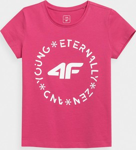 Różowa bluzka dziecięca 4F z krótkim rękawem z dzianiny