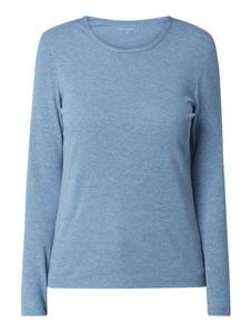 Niebieska bluzka Montego w stylu casual z długim rękawem z bawełny