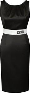 Czarna sukienka Fokus z okrągłym dekoltem midi ołówkowa