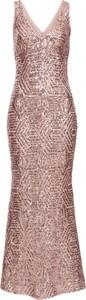 Różowa sukienka bonprix bodyflirt boutique z aplikacją bez rękawów