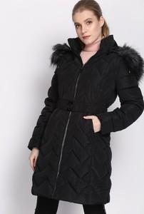 Czarna kurtka born2be długa w stylu casual