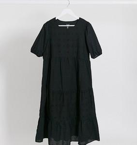 New Look Maternity – Czarna warstwowa sukienka midaxi z haftem angielskim-Czarny