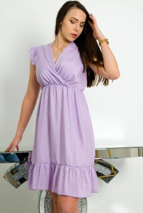 Fioletowa sukienka Olika kopertowa z dekoltem w kształcie litery v z krótkim rękawem