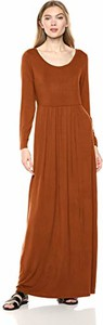 Brązowa sukienka amazon.de prosta z długim rękawem z dżerseju