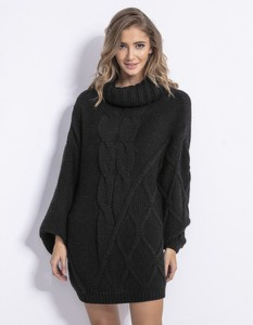 Czarna sukienka Fobya z golfem mini z długim rękawem