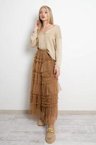 Brązowa spódnica Olika midi z tiulu