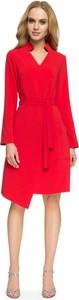 Czerwona sukienka Style midi z długim rękawem