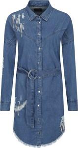 Niebieska sukienka Guess Jeans w stylu casual mini z kołnierzykiem