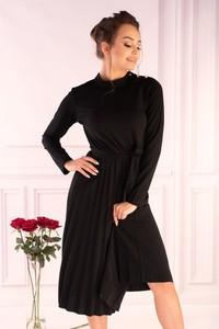 Sukienka MERRIBEL z długim rękawem z okrągłym dekoltem midi