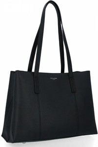 Czarna torebka David Jones na ramię duża w stylu glamour