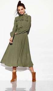 Zielona sukienka Lemoniade w stylu casual szmizjerka maxi