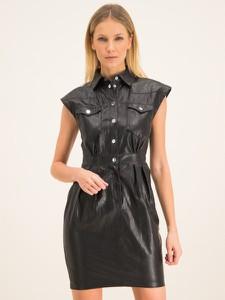 Czarna sukienka Pinko ze skóry w stylu casual z krótkim rękawem