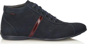 Granatowe buty zimowe Kazar z nubuku