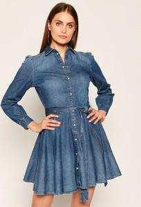 Sukienka Guess z długim rękawem z kołnierzykiem mini