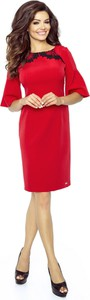 Sukienka Ptakmoda.com z okrągłym dekoltem z długim rękawem