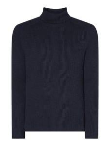 Granatowy sweter Marc O'Polo ze skóry ekologicznej
