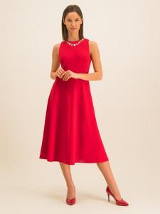 Sukienka DKNY midi z okrągłym dekoltem rozkloszowana