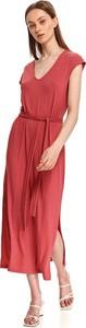 Czerwona sukienka Top Secret z krótkim rękawem z dekoltem w kształcie litery v maxi