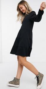 Czarna sukienka Asos z długim rękawem koszulowa