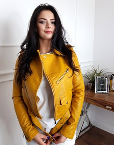 Żółta kurtka Lamaja Butik krótka ze skóry