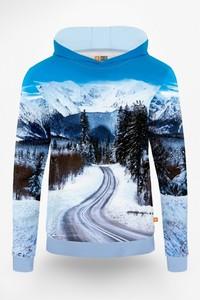 Niebieska bluza Power Canvas w młodzieżowym stylu z nadrukiem z bawełny