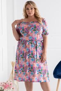 Różowa sukienka KARKO hiszpanka z krótkim rękawem trapezowa