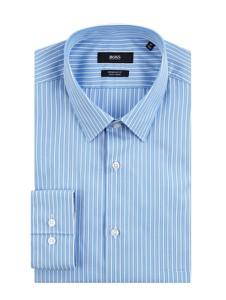 Niebieska koszula Boss z bawełny z długim rękawem z klasycznym kołnierzykiem