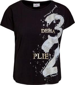Czarny t-shirt Deha z krótkim rękawem