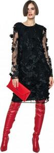 Czarna sukienka ANETA KRĘGLICKA X L'AF z okrągłym dekoltem midi w stylu glamour