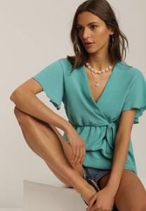 Zielona bluzka Renee z dekoltem w kształcie litery v z krótkim rękawem