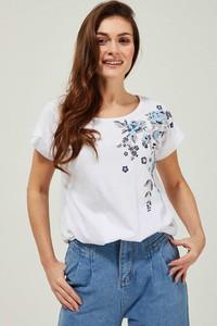 Bluzka Moodo w młodzieżowym stylu z okrągłym dekoltem z krótkim rękawem