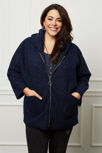 Granatowy płaszcz Curvy Lady w stylu casual