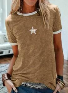 Brązowa bluzka Sandbella z krótkim rękawem z okrągłym dekoltem